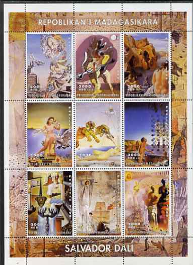 Madagascar 2000 Paintings by Salvador Dali perf sheetlet containing complete set of 9 values unmounted mint