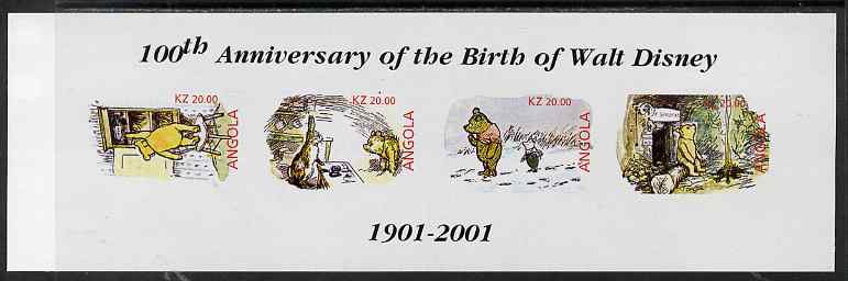 Angola 2001 Birth Centenary of Walt Disney imperf sheetlet containing 4 values (Winnie the Pooh) unmounted mint
