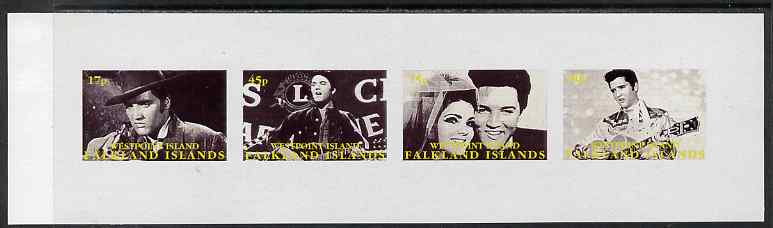 Westpoint Island (Falkland Islands) 1999 Elvis Presley imperf sheetlet containing 4 values unmounted mint