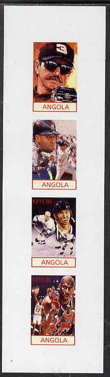 Angola 2001 American Sports Stars imperf sheetlet containing 4 values (Nascar, Baseball, Ice Hockey & Basketball) unmounted mint