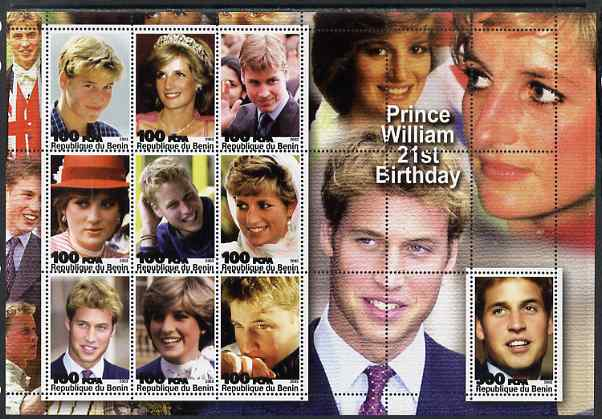 Benin 2003 Prince William 21st Birthday (With Diana) perf sheetlet containing 10 values unmounted mint. Note this item is privately produced and is offered purely on its ...