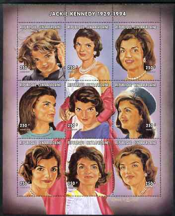 Central African Republic 1997 Homage to Jackie Kennedy perf sheetlet containing 9 values unmounted mint. Note this item is privately produced and is offered purely on its thematic appeal