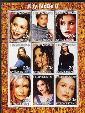 Kyrgyzstan 2000 Ally McBeal perf sheetlet containing complete set of 9 values unmounted mint