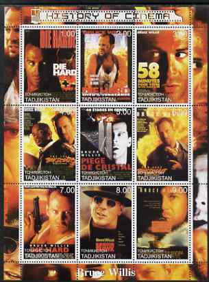 Tadjikistan 2000 History of the Cinema - Bruce Willis perf sheetlet containing 9 values unmounted mint