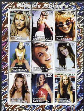 Tadjikistan 2000 Britaney Spears perf sheetlet containing 9 values unmounted mint
