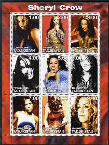 Tadjikistan 2000 Sheryl Crow perf sheetlet containing 9 values unmounted mint