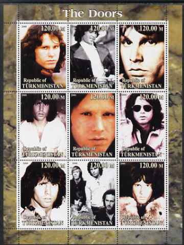 Turkmenistan 2000 The Doors (pop group) perf sheetlet containing 9 values unmounted mint. Note this item is privately produced and is offered purely on its thematic appeal