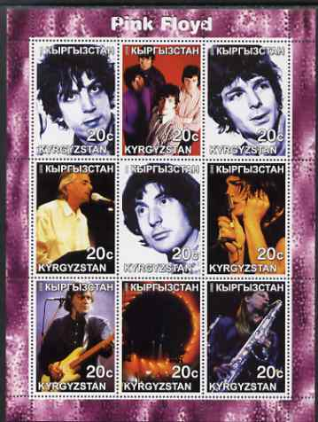 Kyrgyzstan 2000 Pink Floyd perf sheetlet containing complete set of 9 values unmounted mint