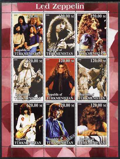 Turkmenistan 2000 Led Zeppelin perf sheetlet containing complete set of 9 values unmounted mint. Note this item is privately produced and is offered purely on its thematic appeal