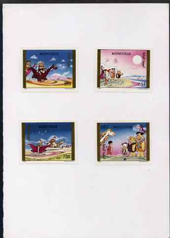 Mongolia 1991 Flintstones (cartoon characters) four imperf proofs mounted in House of Questa folder, rare thus as SG 2183-86