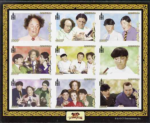 Mongolia 2001 The Three Stooges (Comedy series) imperf sheetlet containing 9 values unmounted mint, as SG MS 2945