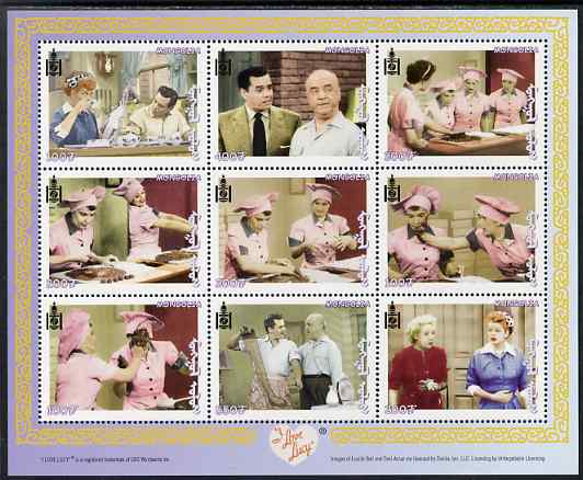 Mongolia 2001 I Love Lucy (TV Comedy series) perf sheetlet containing 9 values unmounted mint, SG MS 2943