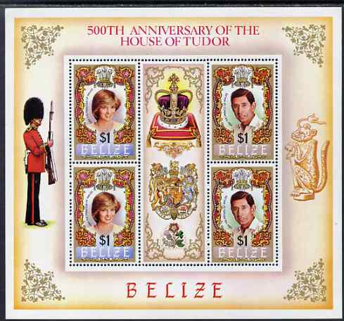 Belize 1984 Diana & Charles perf sheetlet containing 4 values plus label (from 500th Anniversary of House of Tudor) unmounted mint, SG 803-4