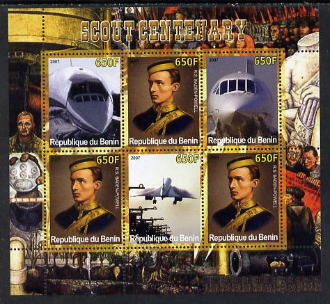Benin 2007 Scout Centenary & Concorde perf sheetlet containing 6 values unmounted mint