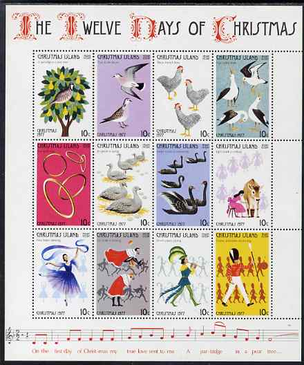 Christmas Island 1977 The Twelve Days of Christmas perf sheetlet without watermark unmounted mint, SG 84A-95A