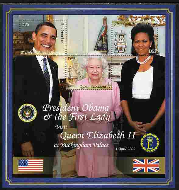 Gambia 2009 Barack Obama Visits Queen Elizabeth at Buckingham Palace composite perf sheetlet containing 3 values unmounted mint