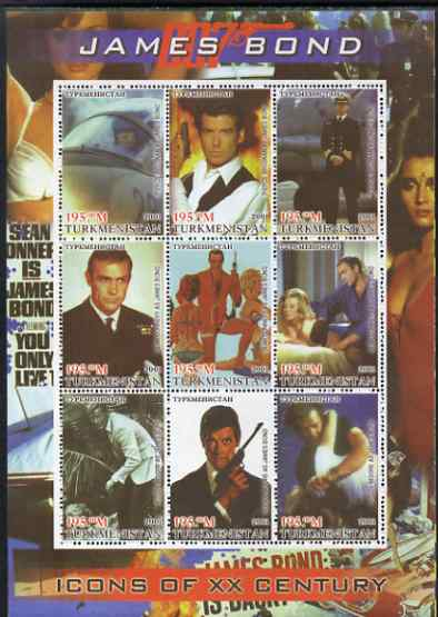 Turkmenistan 2001 Icons of the 20th Century - James Bond perf sheetlet containing set of 9 values unmounted mint