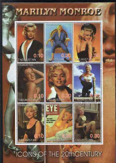 Tadjikistan 2001 Icons of the 20th Century - Marilyn Monroe perf sheetlet containing set of 9 values unmounted mint