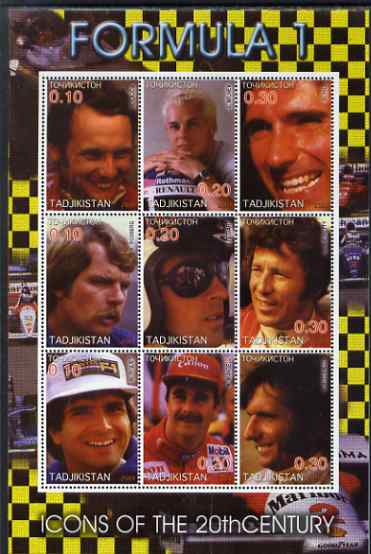 Tadjikistan 2001 Icons of the 20th Century - Formula 1 perf sheetlet containing set of 9 values unmounted mint