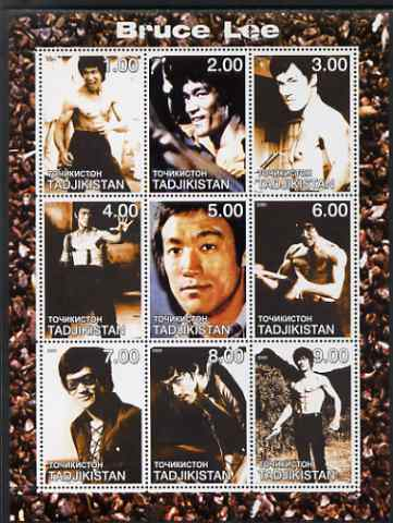 Tadjikistan 2000 Bruce Lee perf sheetlet containing set of 9 values unmounted mint