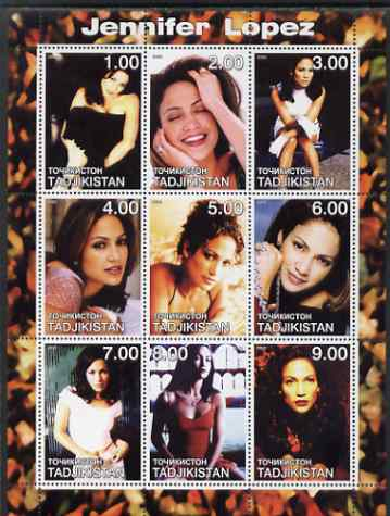 Tadjikistan 2000 Jennifer Lopez perf sheetlet containing 9 values unmounted mint