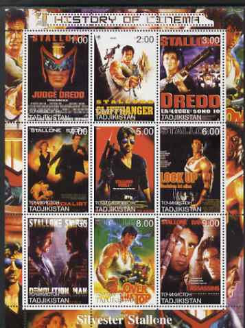 Tadjikistan 2000 History of the Cinema - Silvester Stallone perf sheetlet containing 9 values unmounted mint
