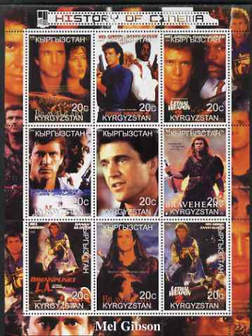 Kyrgyzstan 2000 History of the Cinema - Mel Gibson perf sheetlet containing 9 values unmounted mint, stamps on personalities, stamps on entertainments, stamps on films, stamps on cinema, stamps on  tv , stamps on movies
