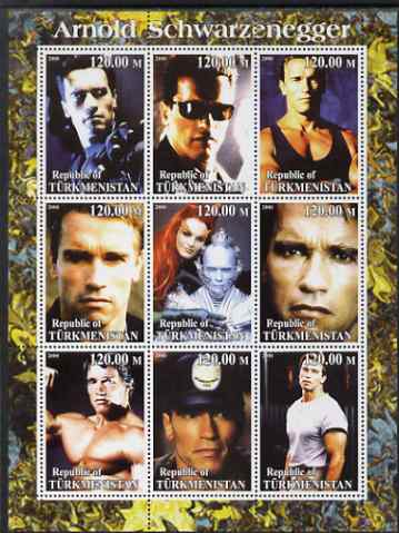 Turkmenistan 2000 Arnold Schwarzenegger perf sheetlet containing set of 9 values unmounted mint. Note this item is privately produced and is offered purely on its thematic appeal