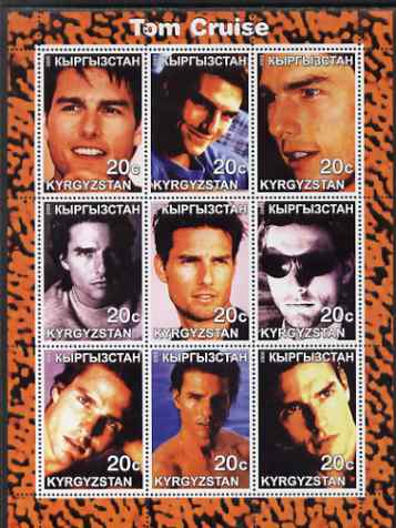 Kyrgyzstan 2000 Tom Cruise perf sheetlet containing 9 values unmounted mint