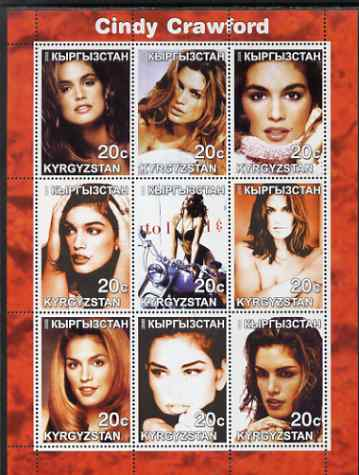 Kyrgyzstan 2000 Cindy Crawford perf sheetlet containing 9 values unmounted mint
