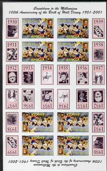 Angola 1999 Countdown to the Millennium #04 (1930-1939) & Birth Centenary of Walt Disney imperf sheetlet containing 4 values (7 Dwarfs) se-tenant pair of sheetlets in tet...