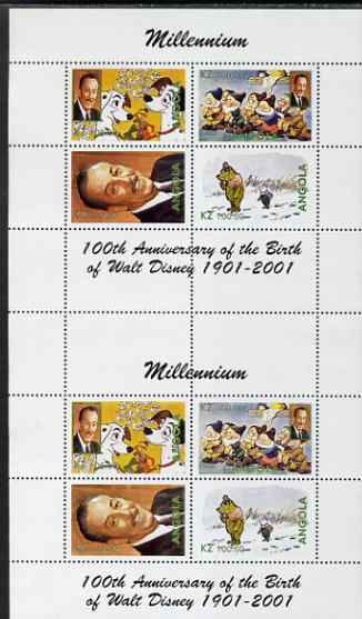 Angola 2000 Millennium & Birth Centenary of Walt Disney perf sheetlet containing 4 values, se-tenant pair of sheetlets from uncut proof sheet, scarce thus