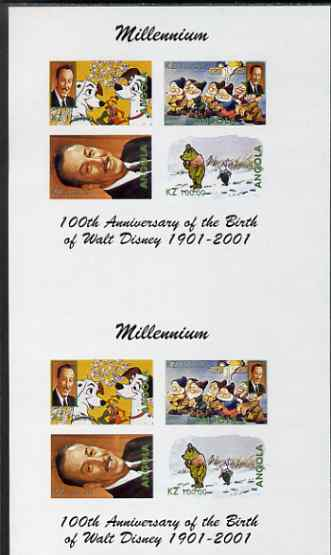 Angola 2000 Millennium & Birth Centenary of Walt Disney imperf sheetlet containing 4 values, se-tenant pair of sheetlets from uncut proof sheet, scarce thus