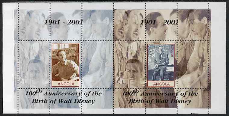 Angola 2001 Birth Centenary of Walt Disney perf s/sheets, se-tenant pair of sheetlets from uncut proof sheet, scarce thus