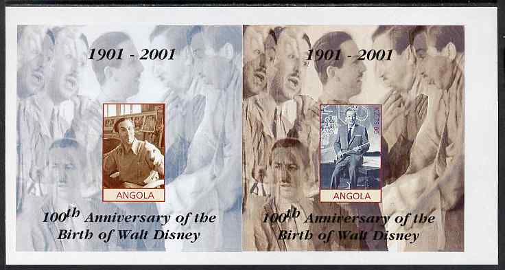 Angola 2001 Birth Centenary of Walt Disney imperf s/sheets, se-tenant pair of sheetlets from uncut proof sheet, scarce thus