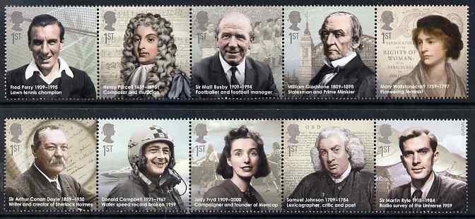 Great Britain 2009 Eminent Britons perf set of 10 (2 se-tenant strips of 5) unmounted mint