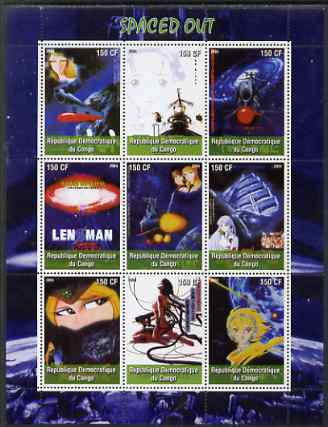 Congo 2004 Japanese Animated Movies - Spaced Out perf sheetlet containing 9 values unmounted mint