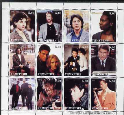 Udmurtia Republic 2000 Movie Stars perf sheetlet containing set of 12 values unmounted mint (D Hoffman, Travolta, james Bond, H Ford, Connery,Stallone etc)