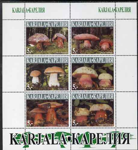 Karjala Republic 1999 Fungi imperf sheetlet containing complete set of 6 values unmounted mint