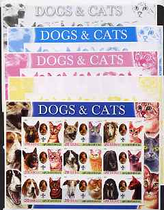 Afghanistan 2003 Dogs & Cats #1 sheetlet containing set of 9 values - the set of 5 imperf progressive proofs comprising the 4 individual colours plus all 4-colour composite, slight wrinkling at corner, unmounted mint