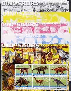 Benin 2003 Dinosaurs #02 large sheetlet containing set of 6 values - the set of 5 imperf progressive proofs comprising the 4 individual colours plus all 4-colour composite, unmounted mint