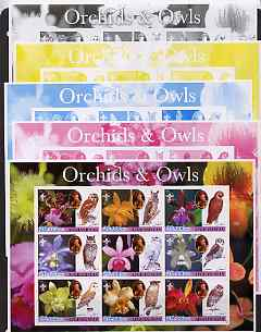 Afghanistan 2003 Orchids & Owls (with baden Powell) sheetlet containing set of 9 values - the set of 5 imperf progressive proofs comprising the 4 individual colours plus ...