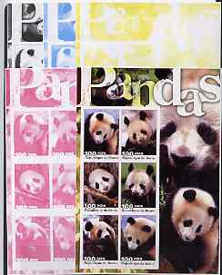 Benin 2003 Pandas large sheetlet containing set of 6 values - the set of 5 imperf progressive proofs comprising the 4 individual colours plus all 4-colour composite, unmounted mint