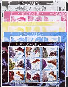 Benin 2003 Dinosaurs #05 large sheetlet containing set of 9 values - the set of 5 progressive proofs comprising the 4 individual colours (imperf) plus all 4-colour composite (perf), unmounted mint