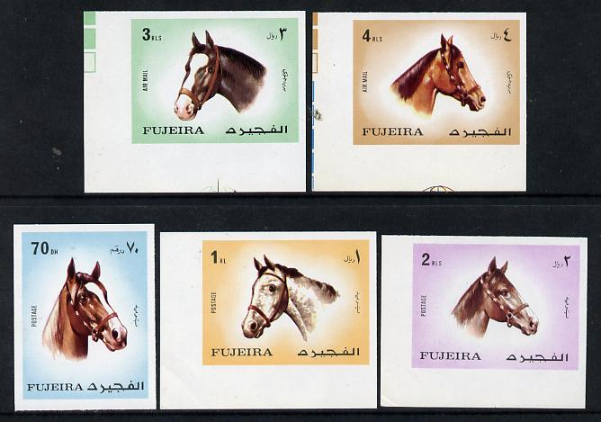 Fujeira 1971 Horses imperf set of 5 unmounted mint (Mi 810-14B)