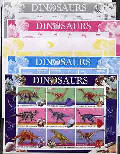 Somalia 2003 Dinosaurs & Minerals sheetlet containing 9 values - the set of 5 imperf progressive proofs comprising the 4 individual colours plus all 4-colour composite, unmounted mint