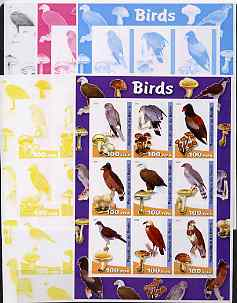 Benin 2003 Birds & Fungi large sheetlet containing set of 9 values - the set of 5 imperf progressive proofs comprising the 4 individual colours plus all 4-colour composite, unmounted mint