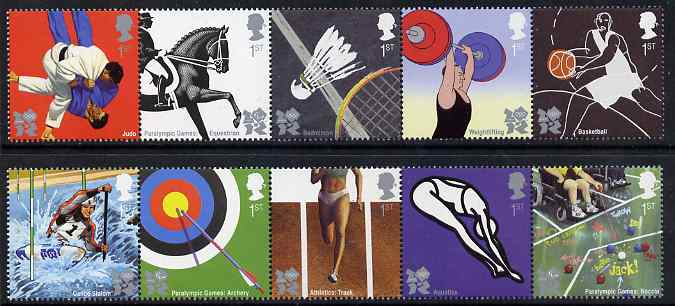 Great Britain 2009 Olympic Sports #1 perf set of 10 (2 se-tenant strips of 5) unmounted mint