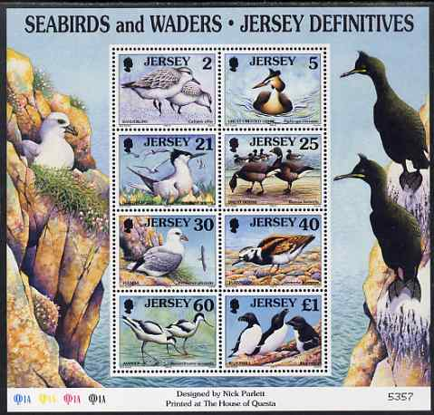Jersey 1997-99 Seabirds & Waders perf m/sheet #2 containing 8 values (2p, 5p, 21p, 25p, 30p, 40p, 60p & \A31) unmounted mint SG MS 806b