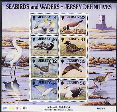 Jersey 1997-99 Seabirds & Waders perf m/sheet #3 containing 8 values (4p, 22p, 26p, 31p, 32p, 35p, 44p & 50p) unmounted mint SG MS 806c